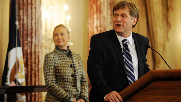 Michael McFaul, the architect of the reset of relations with Russia, is now the U.S. ambassador to Moscow as the countries work through a series of difficult issues. Here, McFaul is shown at his Jan. 10 swearing-in at the Sate Department, a ceremony presided over by Secretary of State Hillary Clinton.