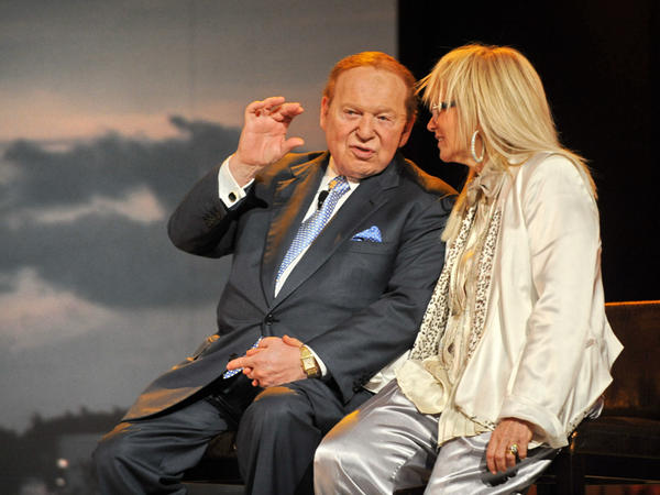 Casino owner Sheldon Adelson and his wife, Miriam, at the Marina Bay Sands complex in Singapore in June. The Adelsons have donated $5 million each to the pro-Gingrich superPAC Winning Our Future.
