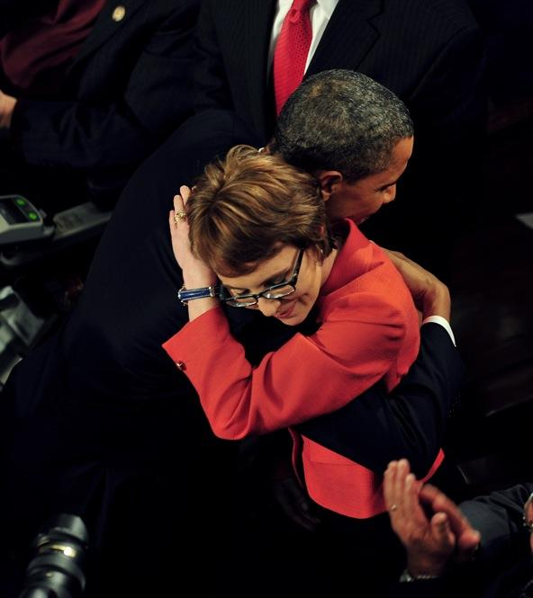 President Obama hugs Arizona Rep. Gabrielle Giffords in the one moment of true, bipartisan good feeling at the State of the Union.