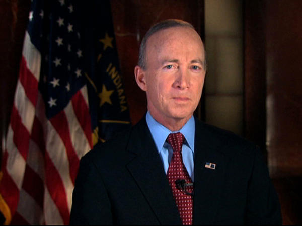 In this image from video, Indiana Gov. Mitch Daniels delivers the Republican response to Obama's State of the Union address.