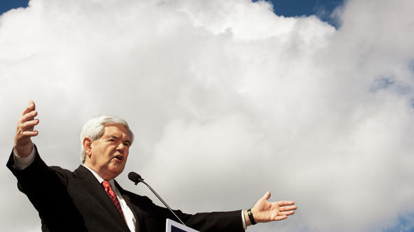 Republican presidential hopeful Newt Gingrich made campaign stops on Florida's Space Coast on Wednesday, saying space is part of America's destiny and outlining what he called a bold plan to send Americans to the moon and beyond. Here, the former House speaker delivers remarks outside a restaurant in Coral Springs, Fla.