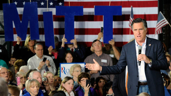 Republican presidential candidate Mitt Romney speaks during a campaign rally Wednesday at Brady Industries in Las Vegas.