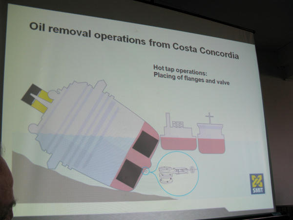 A salvage company diagram shows how experts plan to pump out a half-million gallons of fuel onboard the Costa Concordia cruise ship.