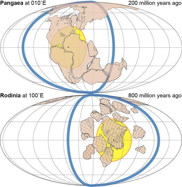 Two of the previous supercontinents, which formed 200 million years ago (Pangaea) and 800 million years ago (Rodinia).