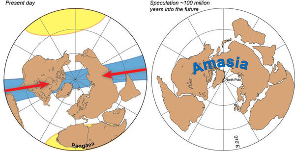 "The Americas and Asia may fuse together to form a new supercontinent, ""Amasia."""