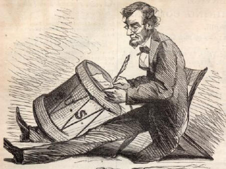 This drawing of Abraham Lincoln by editorial cartoonist Thomas Nast was published in <em>Harper's Magazine</em> in 1865.