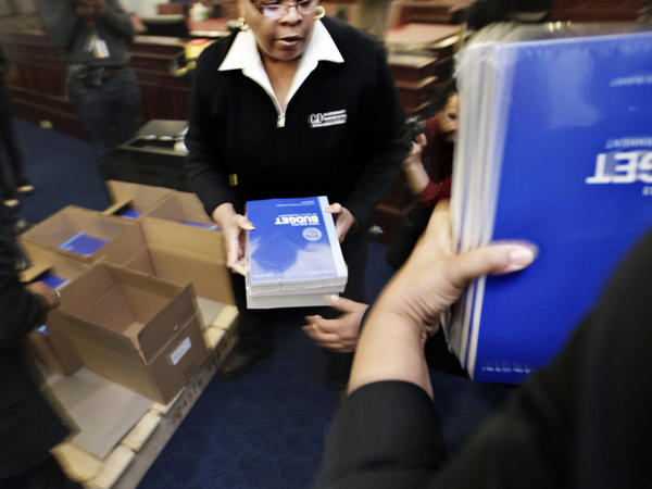 Copies of President Barack Obama's fiscal 2013 federal budget arrived this morning at the House Budget Committee on Capitol Hill in Washington.
