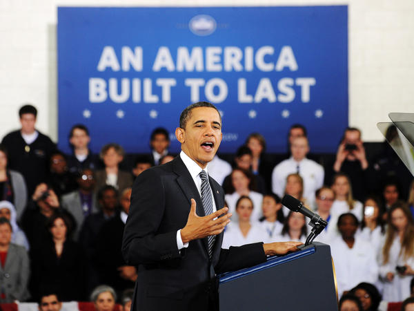 President Obama speaks on his FY 2013 Budget to students at Northern Virginia Community College in Annandale, V.A., on February 13.