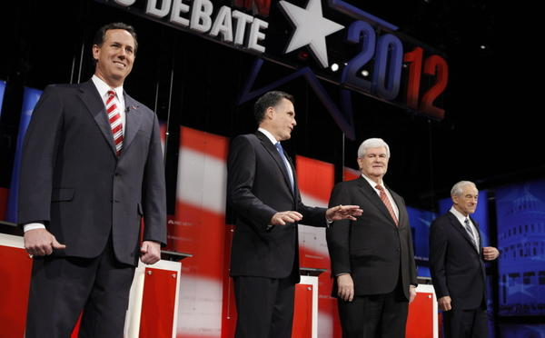 The Republican presidential candidates took the stage for a Jan. 23 debate at the University of South Florida in Tampa.