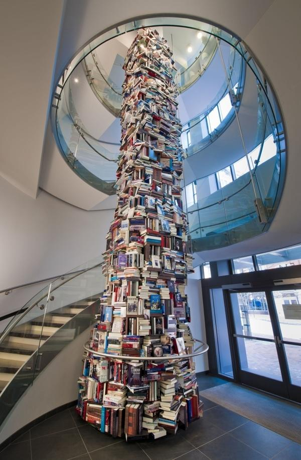 "The Abraham Lincoln book tower stands 34 feet tall and 8 feet around in the lobby of the new Ford's Theatre Center for Education and Leadership in Washington, D.C. <a href=""http://media.npr.org/assets/img/2012/02/17/lincoln-tower-2_archive.jpg"">Click here to see the tower from the top down.</a>"