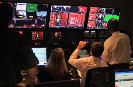 Voice of America was criticized after the veracity of its interview with a Russian anti-corruption activist was questioned. In this photo provided by the network, a control room is seen during a Russian-language Web show.