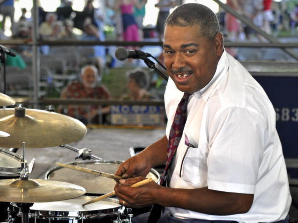 Shannon Powell performs with the Palm Court Jazz Band at the 2010 New Orleans Jazz and Heritage Festival.