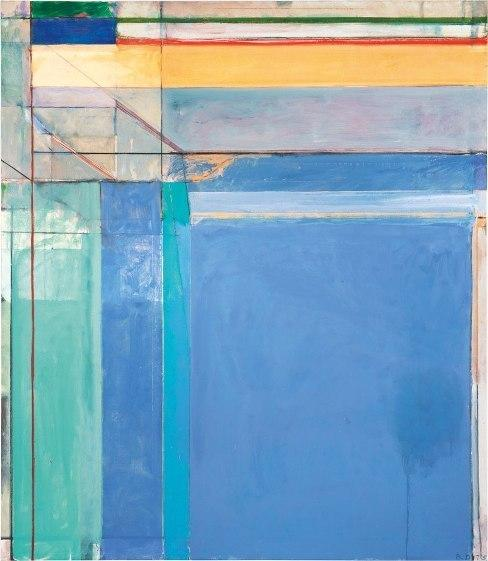 Richard Diebenkorn's 1975 work <em>Ocean Park #79,</em> features pastel blues, lavenders and aquas — and thin strips of deep red and green at the top to draw the viewer's gaze upward.<em></em>