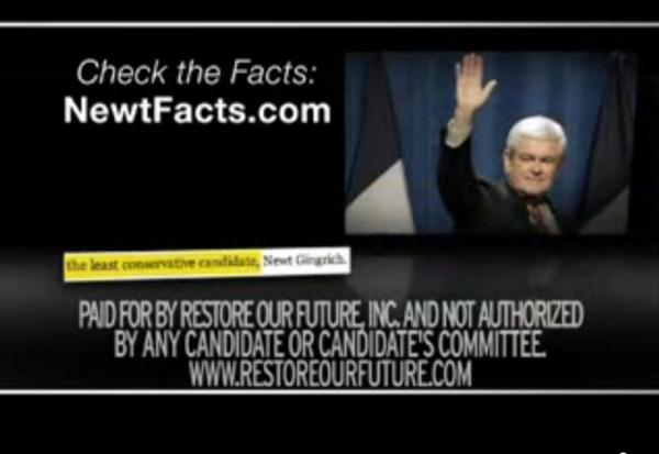 Restore Our Future, the superPAC supporting Mitt Romney, is running negative ads about Newt Gingrich in Ohio ahead of Super Tuesday on March 6, 2012.