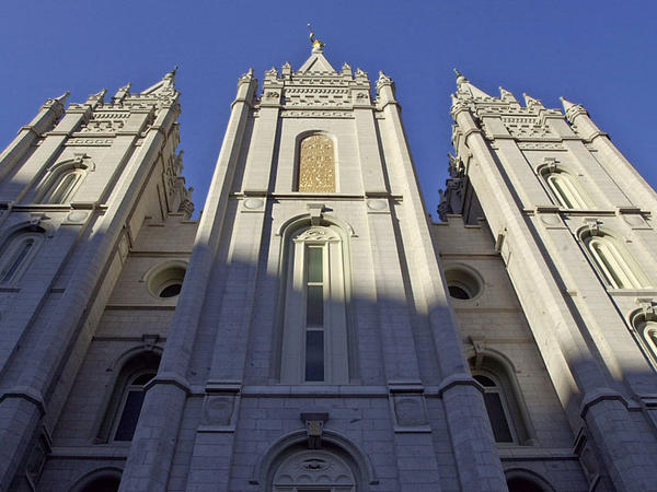 Sunrise hits the Mormon church's temple in Salt Lake City.