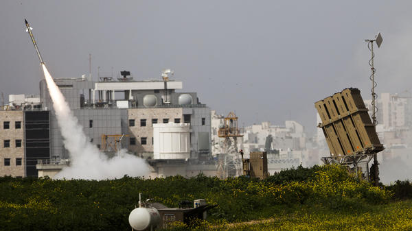 The Israeli military says its Iron Dome system has been extremely effective against Palestinian rockets coming out of the Gaza Strip. Here, an Israeli missile is launched Monday near the city of Ashdod in response to a Palestinian rocket.