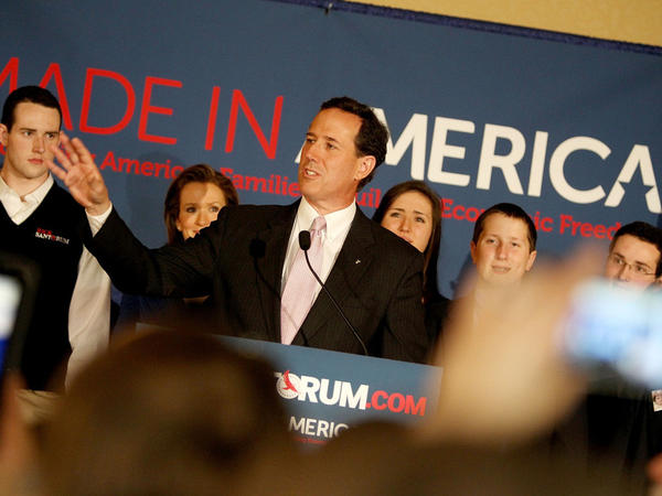 Rick Santorum addresses supporters on Tuesday in Lafayette, La.