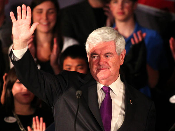 After his losses in Alabama and Mississippi on Tuesday, Newt Gingrich will face increasing pressure to drop out of the GOP race. Here he waves to supporters after speaking at a rally in Hoover, Ala., on Tuesday.