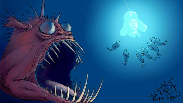 In this illustration by a Chinese cartoonist who goes by the name Rebel Pepper, an anglerfish, representing the Chinese Communist Party, hypnotizes smaller fish, representing the Chinese people, with the glowing image of a famous, model soldier — with the implied intention of devouring them while they're distracted.