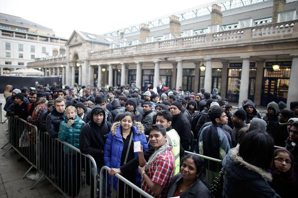 Lines outside the Apple Store in Covent Garden to buy the new iPad on Friday in London, England.