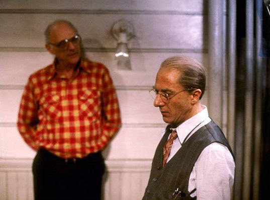 Playwright Arthur Miller (left) on set with Dustin Hoffman, who played Willy Loman on Broadway in 1984, and in a CBS Television adaptation of Miller's play in 1985.