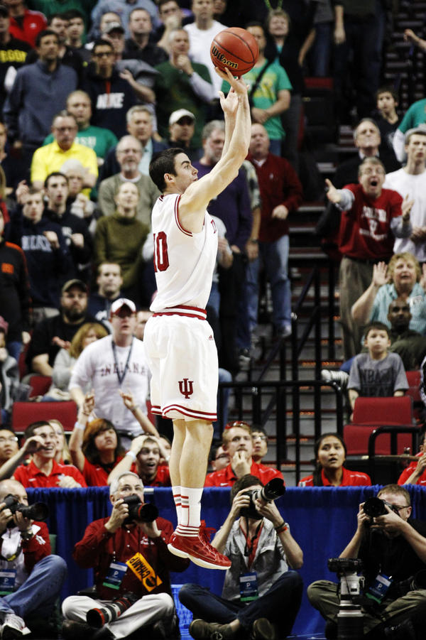 Indiana forward Will Sheehey takes the game-winning shot against Virginia Commonwealth in the second half of an NCAA college basketball tournament third-round game in Portland, Ore., on Saturday. Indiana won 63-61.