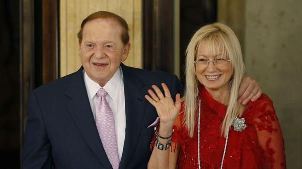 Sheldon and Miriam Adelson at the 2008 opening ceremony of the Four Seasons Hotel Macau in Macau.