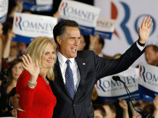 Former Massachusetts Gov. Mitt Romney and his wife, Ann Romney, celebrate his victory in the Illinois GOP primary at the Renaissance Schaumburg Convention Center Hotel in Schaumburg, Ill.