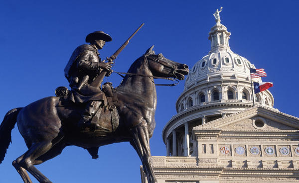 <strong>Lone Star Nation:</strong> Today, the Texas capitol flies both the American and Texas flags, but after independence the Lone Star flag would fly on its own.