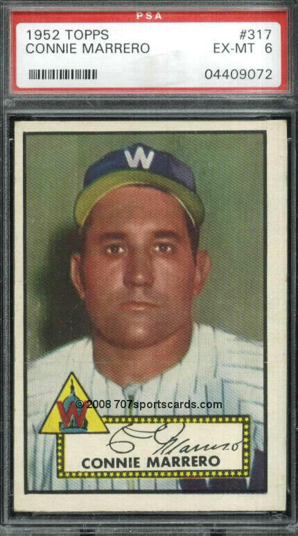 The 1952 baseball card of Connie Marrero. He had an 11-8 record that year with a 2.88 ERA for the Washington Senators. The year before, he was on the American League All-Star team.