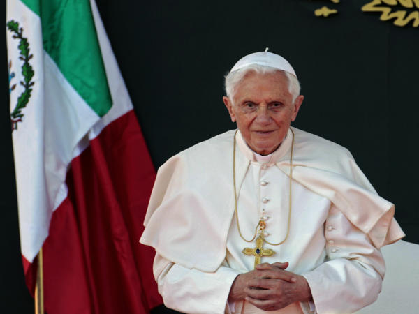 Pope Benedict XVI listens to a speech during his welcome ceremony in Mexico.