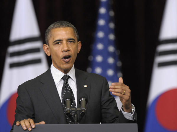 President Obama delivers remarks at Hankuk University in Seoul, South Korea, last week. During his visit, Obama warned Pyongyang against more provocative actions, at the same time reiterating the U.S. has no hostile intent toward North Korea.