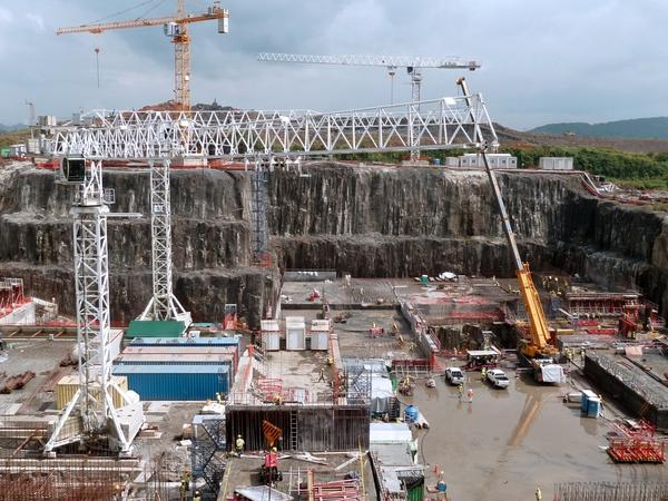 The construction to build a third channel for the Panama Canal began in 2007 and is scheduled to be completed in 2014. This photo shows the state of the construction in December.