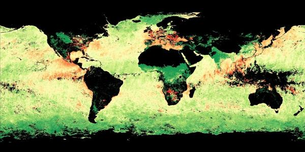 This NASA map shows the size of aerosol particles in the atmosphere. Green areas indicate larger, more naturally occurring particles like dust. Red areas indicate smaller aerosol particles, which can come from fossil fuels and fires. Yellow areas indicate a mix of large and small particles.