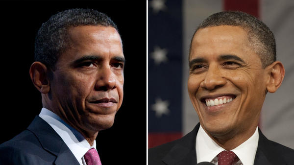 President Obama inspires strong feelings, some positive, some negative. This composite image shows Obama at two separate events.