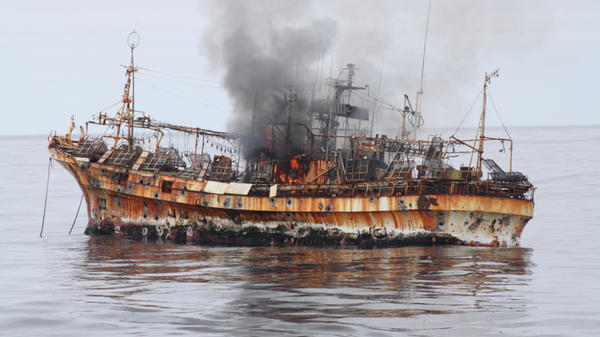 The Ryou-Un Maru after being fired upon and before it sank to the bottom of the Gulf of Alaska.