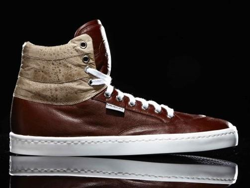 Gideon high-tops made of Australian cane toad leather. The company's sneakers are all handmade in Australia.