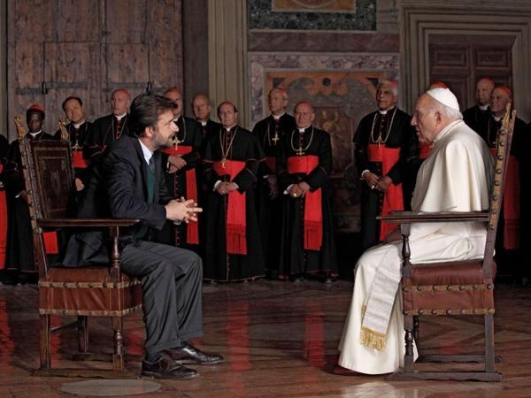 <strong>Group Therapy:</strong> Director Nanni Moretti (left) plays an agnostic psychiatrist summoned to the Vatican to counsel the pope — but he's advised not to ask about sensitive topics.
