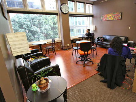 Co-working spaces, like NextSpace in San Francisco, often offer desks and lounges, as well as coffee bars and collaborative workspaces.