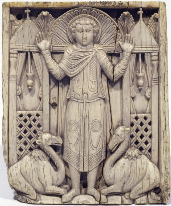 The Met's exhibit examines Christian Byzantium and Islam as they first came into contact in the Middle East in the seventh to ninth centuries. This ivory carving is from what is known as the Grado Chair, a Christian artifact from the Eastern Mediterranean or Egypt in the seventh to eighth century.