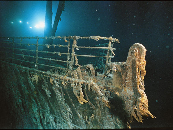 "The bow railing of RMS Titanic, illuminated by the Mir 1 submersible. Read more about the wreck in <a href=""http://ngm.nationalgeographic.com/2012/04/titanic/sides-text"">a <em>National Geographic</em> report</a>."