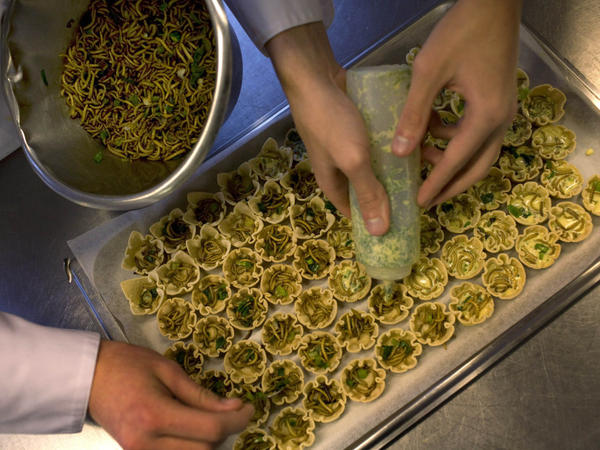 Students prepare mealworm quiches at the Rijn IJssel school for chefs in Wageningen, Netherlands.