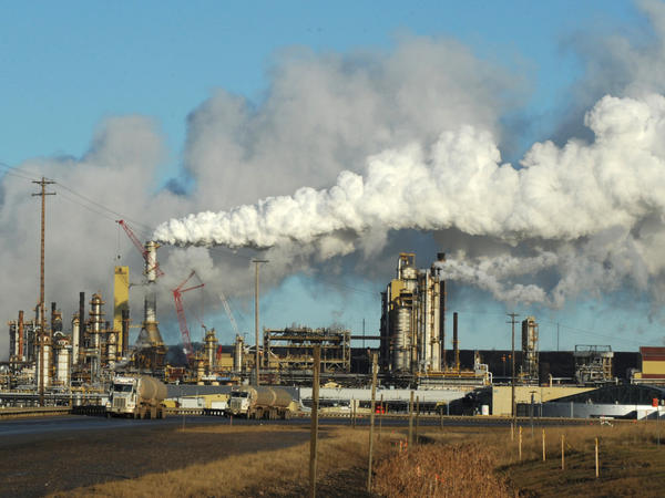 The U.S. now imports far more oil from Canada than from any other country. Persian Gulf imports now account for less than 15 percent of the oil consumed in the U.S. This photo shows the Syncrude oil sands extraction facility near Fort McMurray, Alberta, Canada, in 2009.