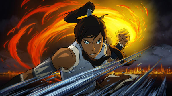 Korra demonstrates fire- and water-bending in <em> The Legend of Korra</em>, a new series from the creators of <em>Avatar: The Last Airbender</em>. It premieres April 14 on Nickelodeon.