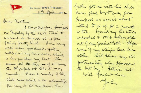 Simpson wrote this letter to his mother in Belfast while aboard the Titanic. The letter made it home. Simpson did not.