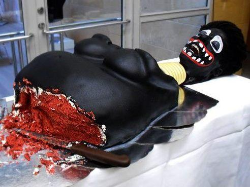 "The cake, with artist Makode Aj Linde ""performing"" as the screaming head."