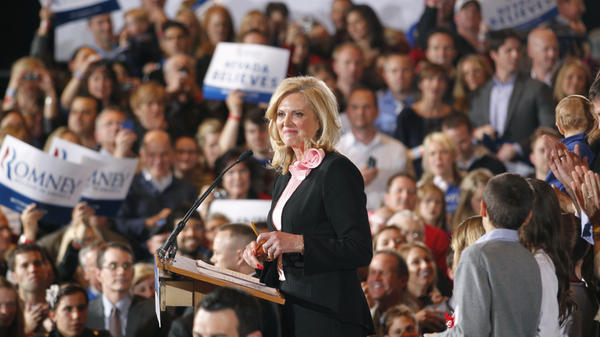 Ann Romney, wife of Republican presidential candidate Mitt Romney, speaks at his Nevada caucus victory celebration in Las Vegas on Feb. 4.