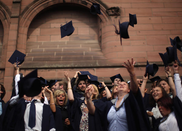 Students from John Moores' University celebrate graduation.
