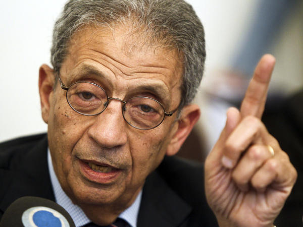 Amr Moussa, the former Arab League secretary-general and Egyptian foreign minister, is currently considered the front-runner in Egypt's presidential election. Here, he speaks during a press conference in Cairo on Sunday.