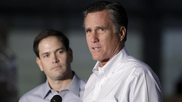 Republican presidential candidate Mitt Romney, joined by Sen. Marco Rubio, R-Fla., talks to reporters during a news conference in Aston, Pa., on Monday. Rubio is frequently mentioned as a potential running mate for Romney.